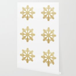 Gold Glitter Snowflake Wallpaper