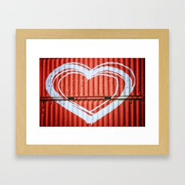 HEART ON CONTAINERS Framed Art Print