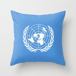 Flag on United nations -Un,World,peace,Unesco,Unicef,human rights,sky,blue,pacific,people,state,onu Throw Pillow