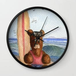 Surfer Bear Wall Clock