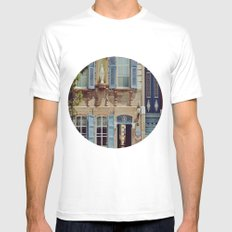 Blue Shutters in the Sun Mens Fitted Tee White MEDIUM
