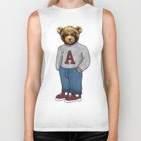 teddy bear Biker Tanks featuring teddy bear by ulas okuyucu