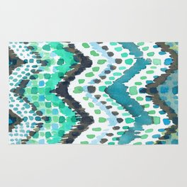 Dappled Chevron in Aqua Rug