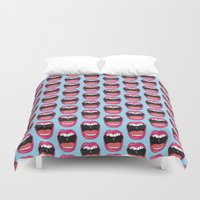 mouth Duvet Covers featuring MOUTH BREATHER by Matthew Taylor Wilson