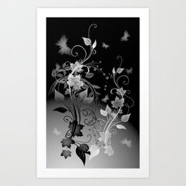 Black and White leaves and swirls Art Print