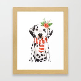 Adorable Holiday Dalmatian Puppy Framed Art Print