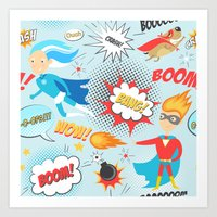 super heroes Art Prints featuring Super Heroes by Petit Griffin
