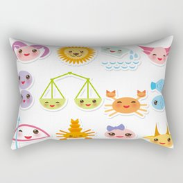 Funny Kawaii zodiac sign, astrological stiker virgo, aries, gemini, cancer, aquarius, taurus,  leo Rectangular Pillow