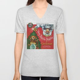 """""""Hey, Diddle, Diddle at Chistmas"""" (Mother Goose Retold-Front cover) Unisex V-Neck"""