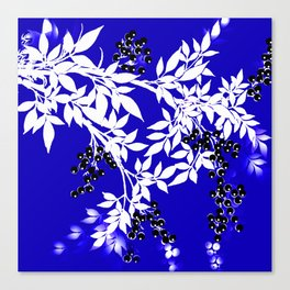 LEAF AND TREE BRANCHES BLUE AD WHITE BLACK BERRIES Canvas Print