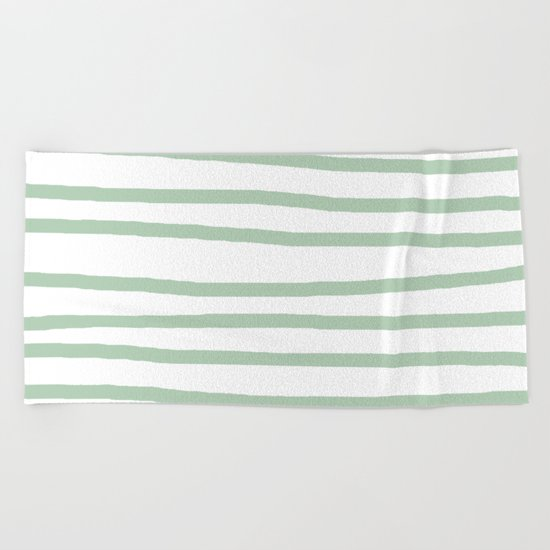 Simply Drawn Stripes Pastel Cactus Green and White Beach Towel