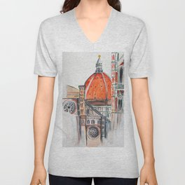 Florence Italy illustration, Firenze duomo Unisex V-Neck