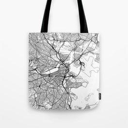 Boston Map White Tote Bag