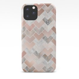 Rose Gold and Marble Geometric Tiles iPhone Case