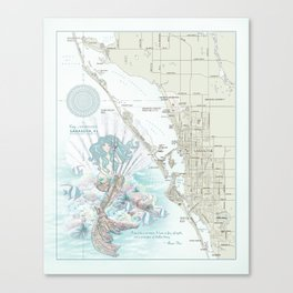 "Sarasota ""Anais Nin"" Mermaid quote area map Canvas Print"