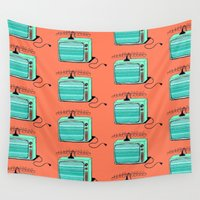 tv Wall Tapestries featuring Television (aqua tangerine) by The Wallpaper Files