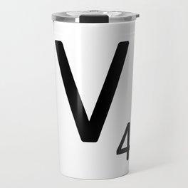 Letter V - Custom Scrabble Letter Tile Art - Scrabble V Initial Travel Mug