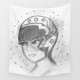 Starry Flapper in Black and White Wall Tapestry