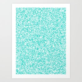 Tiny Spots - White and Turquoise Art Print