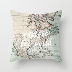 explore the world Throw Pillow