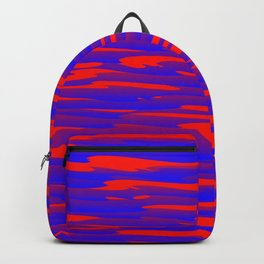 Running luxury blue scribble of art waves and red highlights. Backpack