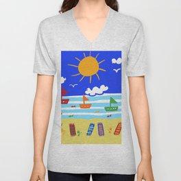 Naive Beach - Blue & Gold  Unisex V-Neck