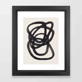 Mid Century Modern Minimalist Abstract Art Brush Strokes Black & White Ink Art Spiral Circles Framed Art Print