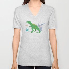 Jurassic Dinosaurs in Primary Colors Unisex V-Neck