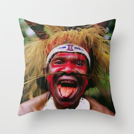 Eating a Betel Nut in Papua New Guinea Throw Pillow