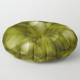 Dark intersecting translucent olive circles in bright colors with an oily glow. Floor Pillow