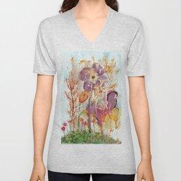 Abstract Garden Watercolor Unisex V-Neck