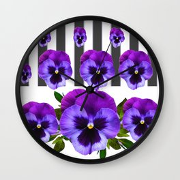 WHITE LILAC & PURPLE PANSY FLOWERS ART Wall Clock