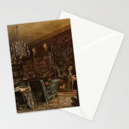 The Library Of The Palais Lanckoronski Vienna 1881 by Rudolf von Alt | Reproduction Stationery Cards