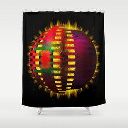 Red Layered Star in Golden Flames Shower Curtain