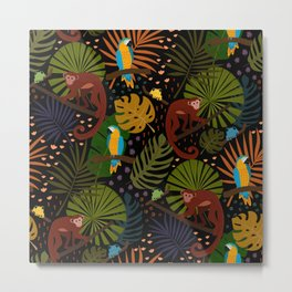 Jungle Fun With Monkeys, Macaws and colorful Dart Frogs Metal Print