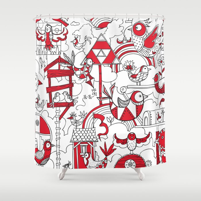 Birdhouse Black White And Red Shower Curtain
