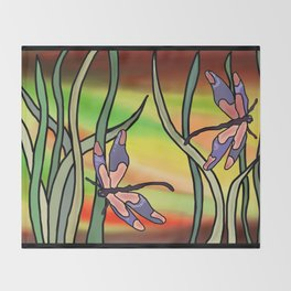 dragonflies in the grass on a colored background Throw Blanket