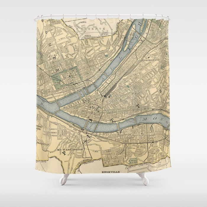 Vintage Map of Pittsburgh PA (1891) Shower Curtain by bravuramedia ...