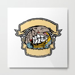Angry Wolf Pirate Ship Banner Retro Metal Print