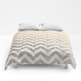 GOLD & SILVER CHEVRON Comforters