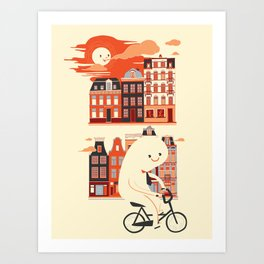 Happy Ghost Biking Through Amsterdam Art Print