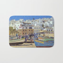 Albufeira fishing boats, Portugal Bath Mat