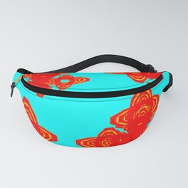 Retro Red Decorative Shapes on Turq Background Fanny Pack