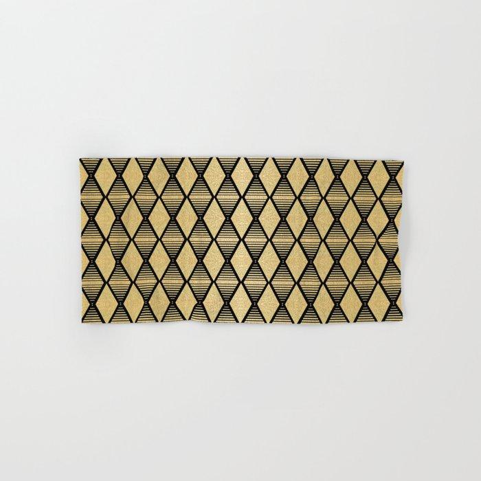 Black and Gold Geometric Pattern Hand & Bath Towel