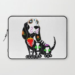 Basset Hound Sugar Skull Laptop Sleeve