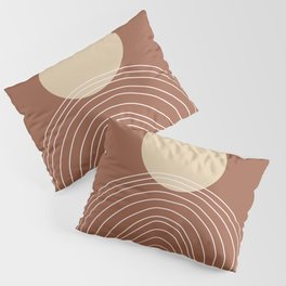 Hand drawn Geometric Lines in Terracotta and Beige Pillow Sham
