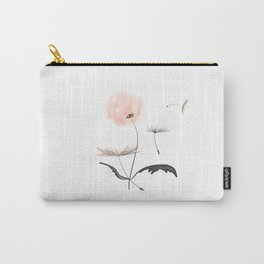 Sweet dandelions in pink - Flower watercolor illustration with glitter Carry-All Pouch