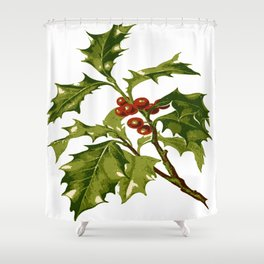 Holly Christmas Red Berry Shower Curtain