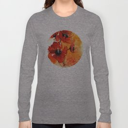 Red Poppy Flowers Watercolor Painting Long Sleeve T-shirt