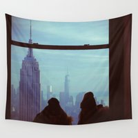 manhattan Wall Tapestries featuring Manhattan by Mt Zion Press